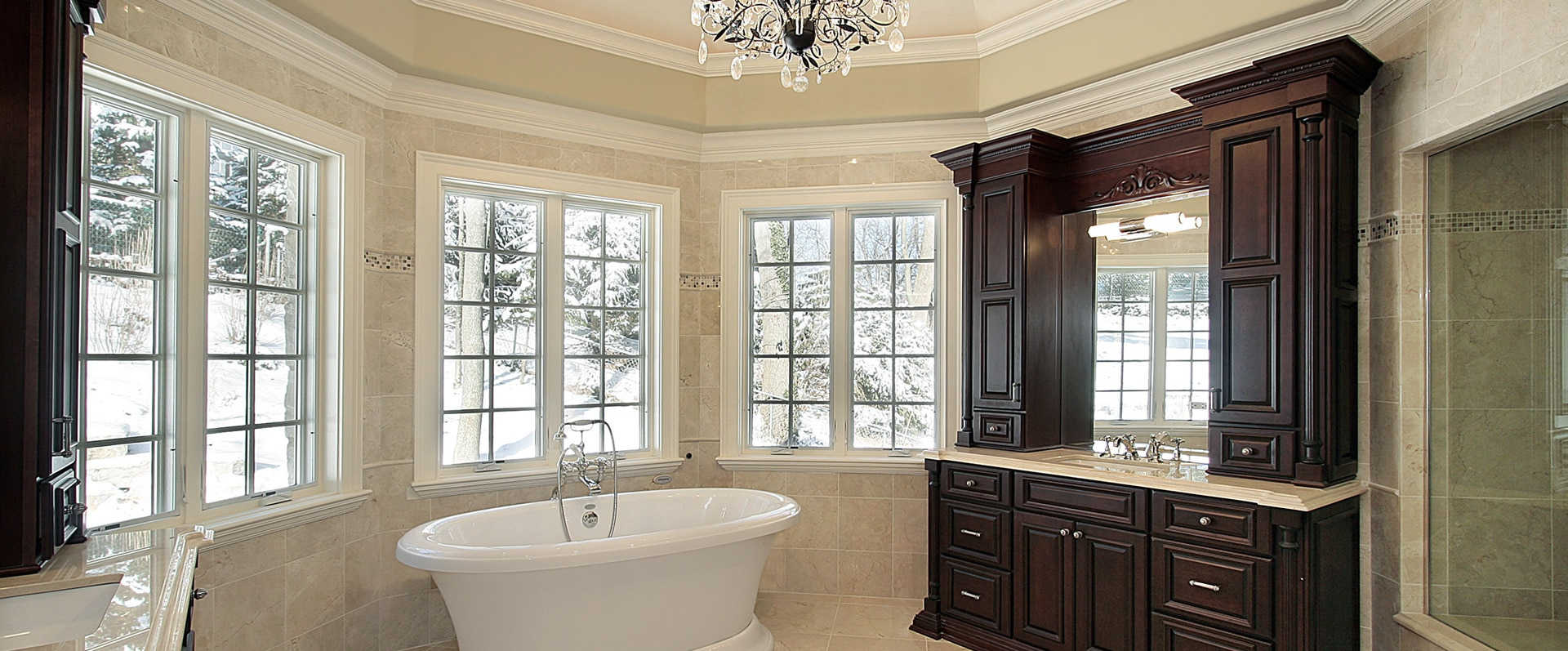 Bathroom with stand alone tub